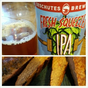 Fresh Squeezed IPA with bloody mary steak